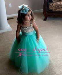 Wholesale Cute Pink Crystals - 2015 Cheap Lovely Cute Kids Flower Girls Dresses Spaghetti Straps Turquoise Tulle Crystal Beads Floor Length For Wedding Girls Pageant Gown