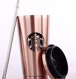 Wholesale Cups Lids Straws - New gradient color creative coffee cup milk straw cups 10 different design Starbucks stainless steel double insulation Cup