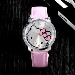 Wholesale Buy Leather China - wholesale 10 pcs cheap watch for kids fashion and cheap pink pu leather quartz dimaond women watch hello kitty watch cute cat buy from china