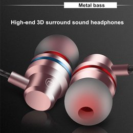 Wholesale Aluminum Apple - Best quality Metal Magnetic Subwoofer headphones Earphone aluminum Sport Headset With Microphone For IPhone huawei+High-end retail box