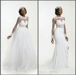 Wholesale Lace Tulles Wedding - Hot Sale Long Sleeves Lace Appliques Sheath Wedding Dresses Retachable Puffy Tulles Skirt Illusion Crew Neck South African Bridal Gowns