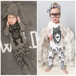 Wholesale Little Bear Boy Set - NWT 2016 I'll eat you up you're so cute Bowtie Bear Baby Girls Boys Outfits Set Summer Sets Boy Cotton Tops + Harem Pants - Little monster