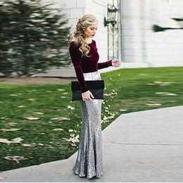 Wholesale Womens Maxi Skirts Dresses - Elegant Women Sequins Maxi Skirt Mermaid Faldas OL Lace Long Sequin Lace Skirts Silver Ladies Free Shipping Dresses For Womens Plus Size