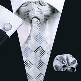 Wholesale Gray Necktie - Plaid Gray Ties Set Pocket Square Cufflinks Jacquard Woven Business Formal Work Meeting Necktie Set Mens Fashion Ties N-0355