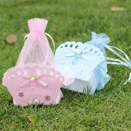 Wholesale Baby Feet Favors - Wholesale- 12Pcs Wedding Decorations Baby Shower Gift Bags Baby Shower Favors Bags With Baby Feet Decorative