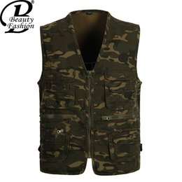 Wholesale Outdoor Photographer - Fall-NEW Fashion 2016 Summer Autumn Men's Sleeveless Vest Casual Multi pocket Men Outdoor Photographer vests Jacket Tops chaleco