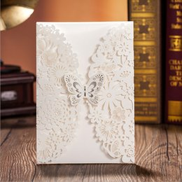 Wholesale lace invitations - 2015 Customizable Hollow Crystal Lace Bow Wedding Invitations Laser Cut Wedding Invitation Cards Supplies Printable Cards Free Shipping