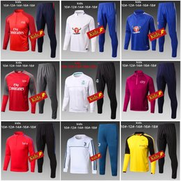 Wholesale Tops Soccer Boys - Kids TOP THAI QUALITY New 17-18 Real Madrid Kids soccer chandal AC milan NEYMAR JR MESSI football Long tracksuit 2017-2018 training suit