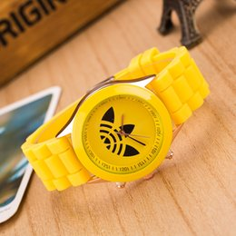 Wholesale Geneva Style Watch - 2016 Hot Geneva Watches style Clover students silicone watch Geneva watches Quartz pointer noctilucence 13color mixs DHL gift