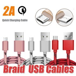 Wholesale Usb Male - 2A Nylon Braid Micro USB Male Cable Data Sync Connector Braid Phone Cables Fast Charging Microusb Android