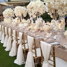 Wholesale Chiffon Material Wholesale - 2016 White Wedding Chair Covers Chiffon Material Custom Made 1.8 m Length Chair Sashes Wedding Supplies 20 Pieces