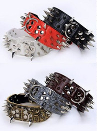 Canada Colliers de chien en cuir clouté 2 pouces de large collier de chien en cuir multi couleurs pour les grandes et moyennes races PitBull Mastiff livraison gratuite Offre
