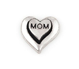 Wholesale Word Charms Floating Locket - 20PCS lot Silver Color Mom Word Letter DIY Heart Floating Locket Charms Fit For Glass Living Magnetic Locket