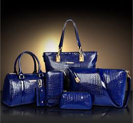 Wholesale Men Wallet Sets - Wholesale-Fashion Crocodile Handbag PU Leather Bag Women Handbags Crossbody Bag Handbag+Messenger Bag+rse+Wallet 6 sets WHC008462