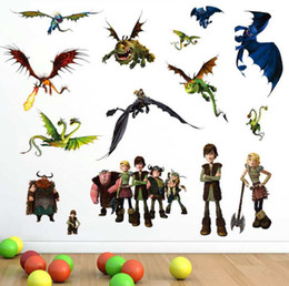 Wholesale Train Room Wall Decal - How to Train Your Dragon Wall Stickers Removable Vinyl Art Kids Room Decals DIY free shipping