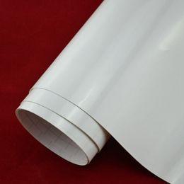 Wholesale Gloss White Wrap - 1.52*2m(5*7ft) 3 layers bubble free gloss vinil film White Vinyl Vehicle Decal Car Wrap Film Sheet Sticker Roll free shipping