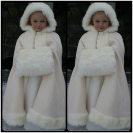 Wholesale Collar Fur Cheap - Beauty Cheap 2016 New Winter Child Cape Floor length Lovely Faux Fur Wraps for Children Hot sale Bridal Cloaks