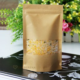 Wholesale Paper Package For Food - 100pcs lot- 12*20+4cm Zip-lock Kraft paper bag Stand up pouch with transparent window for dried food grains tea packaging
