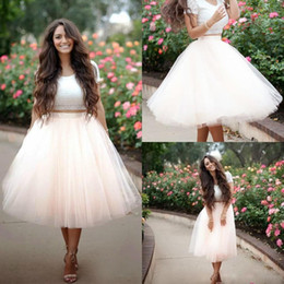 Wholesale Tulle Dresses For Adults - Blush Pink Multiple Layers Tulle Skirt Knee Length Ruffled Tutu Adult Fashion Skirts for Women Simple Cheap Party Dresses
