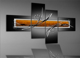 Wholesale Set Painting Wall Orange - Free shipping hand painted oil wall art Black and Orange fly line home decoration abstract oil painting canvas 4pcs set 857