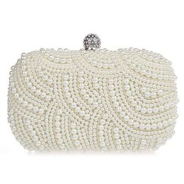 Wholesale Elegant Purses - Elegant Pearls Evening Bag Portable Beading Case Style Purse Ladies Outdoor Dating Shopping Clutches Handbag hb274