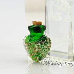 Wholesale Small Glass Perfume Bottles - heart glitter murano glass luminous handmade murano glass perfume bottle for necklace small urn for necklace pendant for ashes