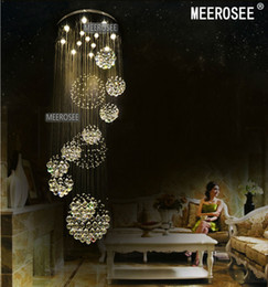 2019 modernas lámparas largas para escaleras. Luminaria de techo de cristal grande y moderna para vestíbulo, escalera, escaleras, vestíbulo Lámpara de techo de brillo de luz de cristal en espiral larga modernas lámparas largas para escaleras. baratos