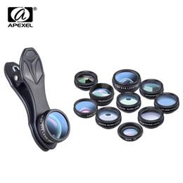 APEXEL 10 в 1 телефон камеры комплект рыбий глаз широкий угол макро CPL фильтр Калейдоскоп и 2x телескоп для смартфона объектив от