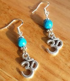 Wholesale Turquoise Fish Earrings - Turquoise Om Dangle Dangle Earrings 925 Silver Fish Ear Hook 50pairs Tibetan Silver Chandelier Earrings Jewelry Girls Accessories Q762