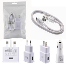 Wholesale original car phone - OEM Original Quality 1M 2A Micro USB Cable 5v 2a 9V 1.67a EU US UK CAR fast charger wall charger for samsung phone 50pcs up