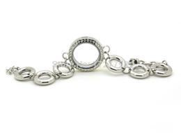 Wholesale Glass Locket Bracelet Chain - strass Free shipping floating charm waterproof 316L stainless steel glass living floating locket bracelet Magnetic locket bracelet