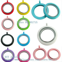 Wholesale Paint Charms - paint floating lockets plain 30mm mixed colors Round twist threaded screw top locket fit charms could make necklace keychain