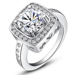 Wholesale Wholesale Bezel Set Cz - 2015 new design 925 sterling swiss CZ Diamond Wedding Ring Platinum Plated Top quality fashion jewelry free shipping