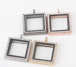 Wholesale Float Frame Glass - New Arrival 30*30mm Square Photo Frame Magnetic Glass Memory Floating Charms Living Locket Fine Stainless Steel Jewelry Different Colors
