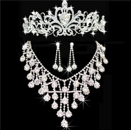 Wholesale Crystal Dresses Girl - Tiaras gold Tiaras Crowns Wedding Hair Jewelry neceklace,earring Cheap Wholesale Fashion Girls Evening Prom Party Dresses Accessories