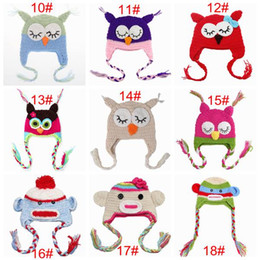 Wholesale Cartoon Crochet Infant Animal Hat - newborn crochet animal cartoon hats kids winter beanie skull caps infant owl monster hat baby knit photography props 32colors for girls boy