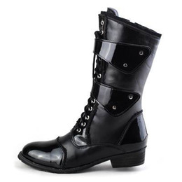 lacer des bottes de moto Promotion Nouveau Design Mode Marée Mi Demi Bottes Pour Hommes Lace Up Avec Boucle Moto Boot Man Dressing Up PU cuir Cowboy Martin Boot Chaussures 38-45