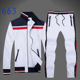 zip suits Coupons - Autumn men's full zip  tracksuit men sport suit white cheap men sweatshirt and pant suit hoodie and pant set sweatsuit men