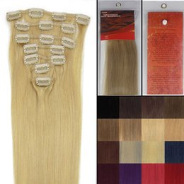 Wholesale Golden Blonde Clip Hair Extensions - Hot Fashion Gift 18 inch 7 Pcs Clips-In Silky Straight weaves Hair Extension 70g pack color #24 Golden Blonde