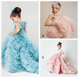 Wholesale Yellow Ball Dresses Gowns - Blush Pink Girls Pageant Dresses 2017 Ball Gowns Cascading Ruffles Unique Designer Child Glitz Pageant Ball Gowns with Handmade Flowers BO38