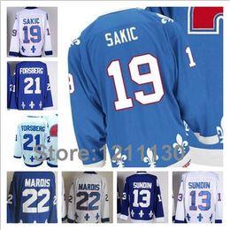 Argentina 2015 2014 Hockey sobre hielo Quebec Nordiques Jersey # 13 Mats Sundin # 19 Joe Sakic # 21 Peter Forsberg # 22 Mario Marois Jerseys Best Quality cheap quebec nordiques jersey sakic Suministro