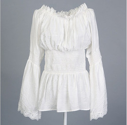 Wholesale Womens Off Shoulder Tops - Womens Gothic Victorian Lace Peasant White Blouses Long Sleeves Hippie Boho Top