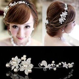 Wholesale Cheap Fancy Crystal - 2016 Cheap Wedding Bridal Hair Jewelry Fancy Pearl Flower Sparkly Crystal Tiaras & Hair Accessories Bridal Jewelry Free Shipping