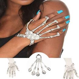 Wholesale Chain Bracelet Ring Finger - Wholesale-Hand Chain Silver Skull Fingers Metal Skeleton Fashion Slave Bracelets Rings