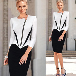Wholesale Front Mini Skirt - 2015 Spring Sheath Knee Length Cocktail Party Dresses OL Women Patchwork Tunic Causal Gowns OXLT708 Front Zipper Fashion Skirts