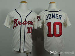 Wholesale Cheap Boys Athletic Shorts - Chipper Jones #10 Braves Beige Youth Kid Baseball jersey Cheap Athletic & Outdoor Apparel Stitched Name and Logo Allow Mix Order