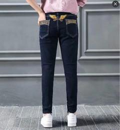Mulheres elásticas das calças de brim on-line-Robins das mulheres Jeans Moda Hot Marca Designer Robin Denim Calças Femininas Senhora Jean Elastic Magro Magro Asas de Águia Bordado