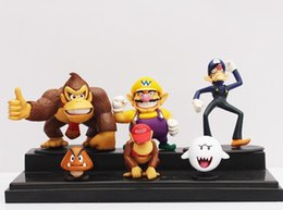 Wholesale Super Mario Figures Waluigi - hot sale Super Mario Bros Wario Waluigi Diddy Kong Goomba Ghost Boo Donkey kong Action Figure PVC Dolls Room decorations 6pcs set
