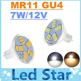 Wholesale Gu4 Led Warm 12v - 2015 New Arrival 7W MR11 Led Lights Lamp 15 Leds SMD 5630 Super Bright 550 Lumens 12V GU4 Led Spot Bulbs Light Warm Cold White Free Shipping
