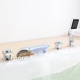 Wholesale Led Waterfall Tub Faucets - Roman Chrome Finish Waterfall 3 Color LED Hydropower Light Bath Tub Faucet Mixer Tap W  Hand Shower